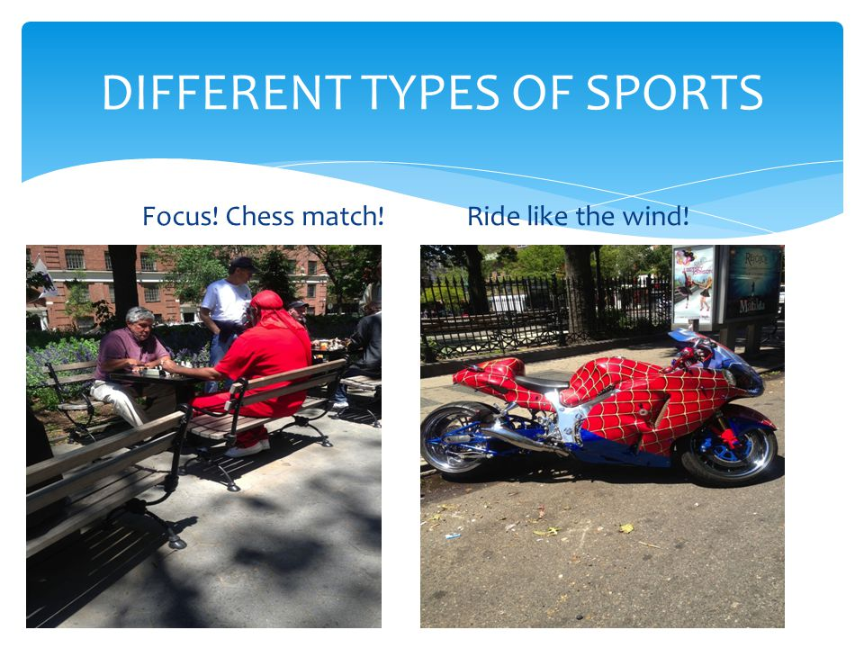 Focus! Chess match!Ride like the wind! DIFFERENT TYPES OF SPORTS