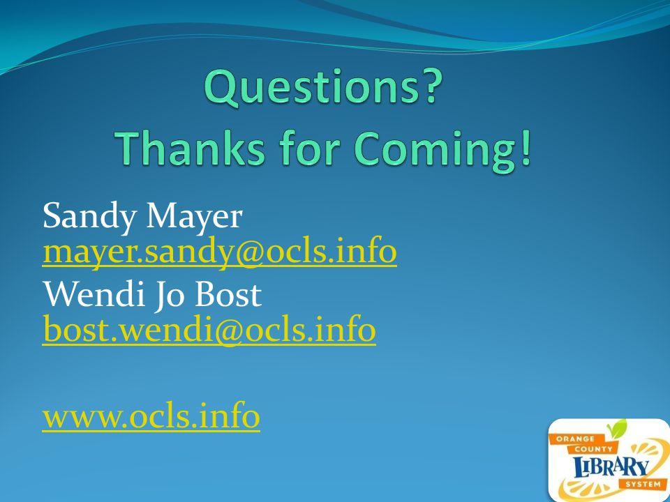 Sandy Mayer mayer.sandy@ocls.info mayer.sandy@ocls.info Wendi Jo Bost bost.wendi@ocls.info bost.wendi@ocls.info www.ocls.info