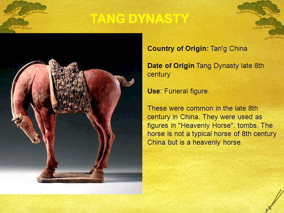 Country of Origin: Tan'g China Date of Origin Tang Dynasty late 8th century Use: Funeral figure. These were common in the late 8th century in China. T