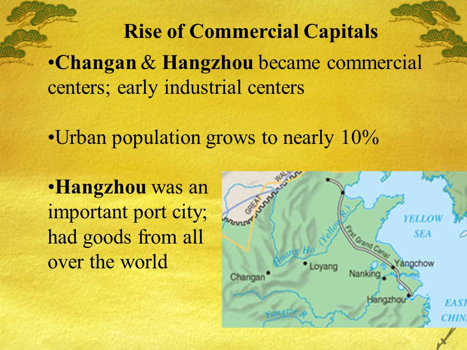 Rise of Commercial Capitals Changan & Hangzhou became commercial centers; early industrial centers Urban population grows to nearly 10% Hangzhou was an important port city; had goods from all over the world