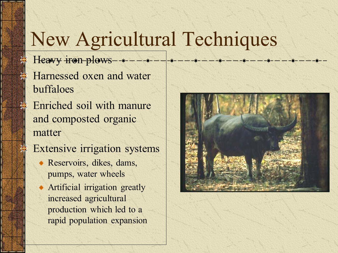 New Agricultural Techniques Heavy iron plows Harnessed oxen and water buffaloes Enriched soil with manure and composted organic matter Extensive irrigation systems Reservoirs, dikes, dams, pumps, water wheels Artificial irrigation greatly increased agricultural production which led to a rapid population expansion