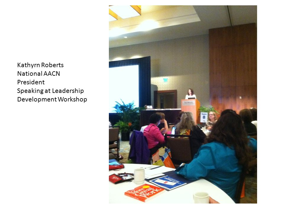 Kathyrn Roberts National AACN President Speaking at Leadership Development Workshop