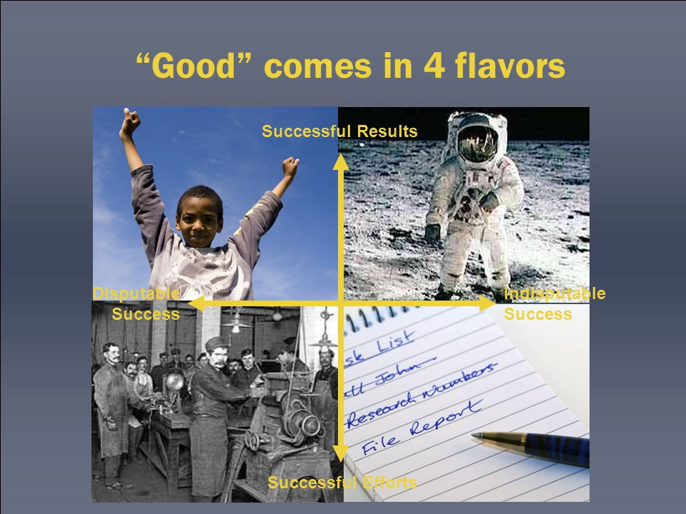 Good comes in 4 flavors Successful Efforts Successful Results Disputable Success Indisputable Success