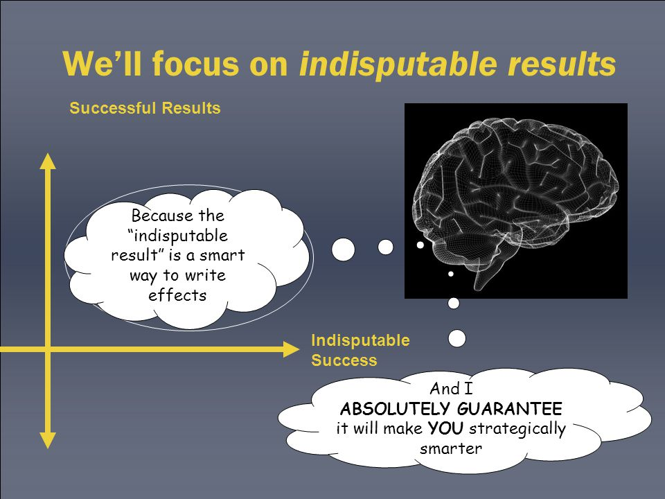 We'll focus on indisputable results Successful Results Indisputable Success Our focus Because the indisputable result is a smart way to write effects And I ABSOLUTELY GUARANTEE it will make YOU strategically smarter