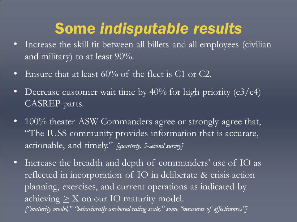 Some indisputable results Increase the skill fit between all billets and all employees (civilian and military) to at least 90%. Ensure that at least 6