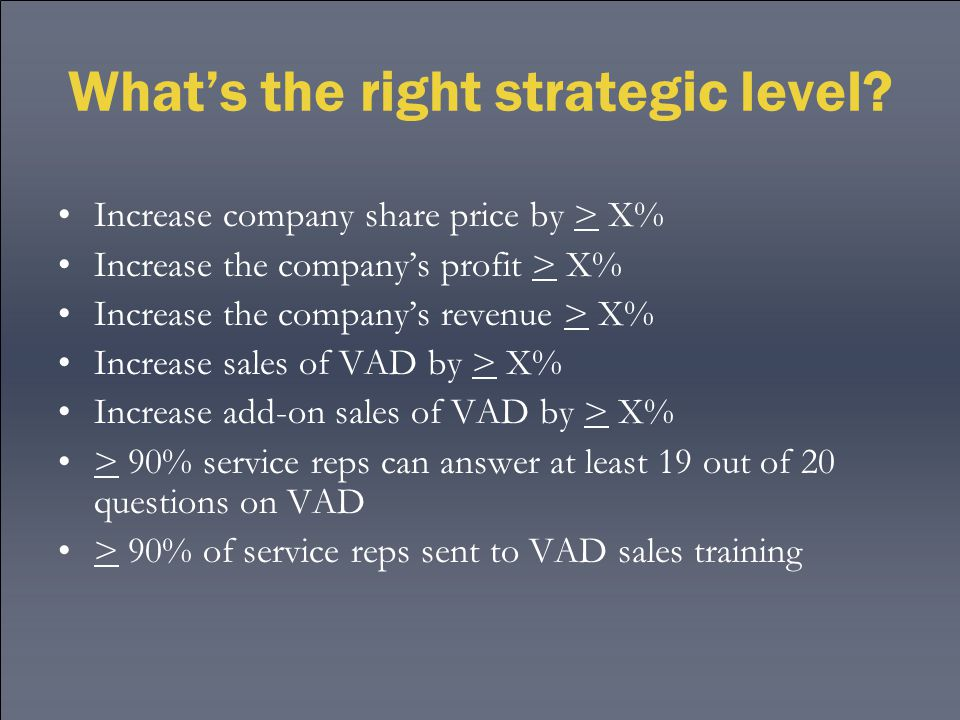 What's the right strategic level.