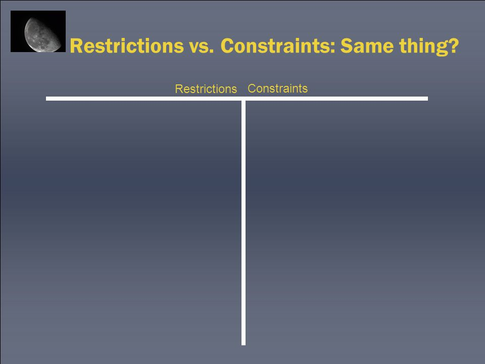 Restrictions vs. Constraints: Same thing? Restrictions Constraints
