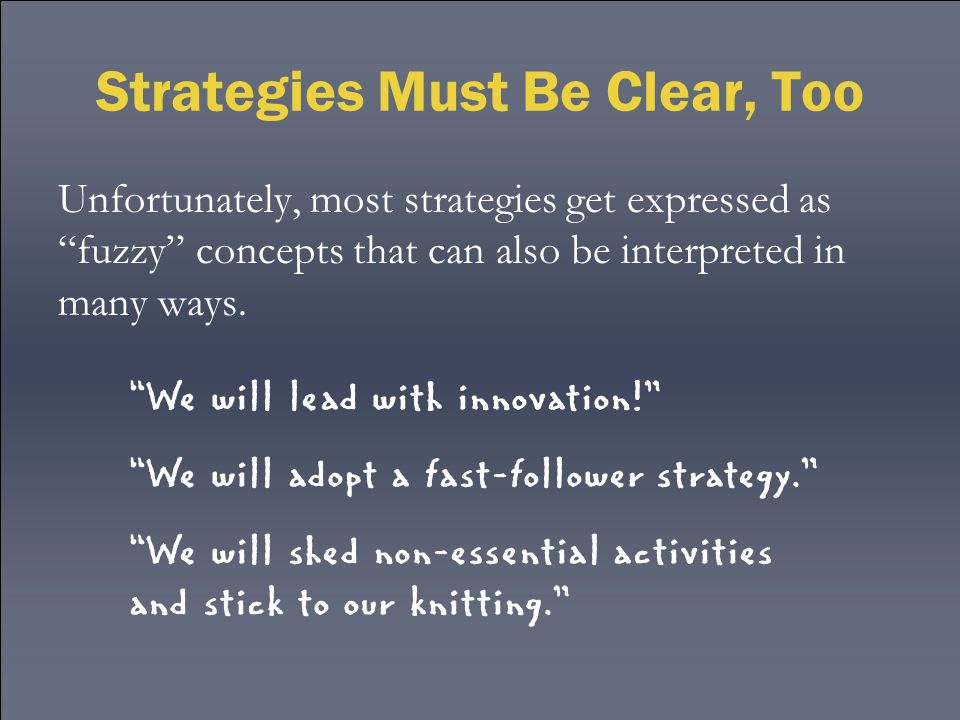 Strategies Must Be Clear, Too Unfortunately, most strategies get expressed as fuzzy concepts that can also be interpreted in many ways.