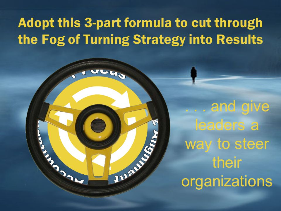 Adopt this 3-part formula to cut through the Fog of Turning Strategy into Results... and give leaders a way to steer their organizations