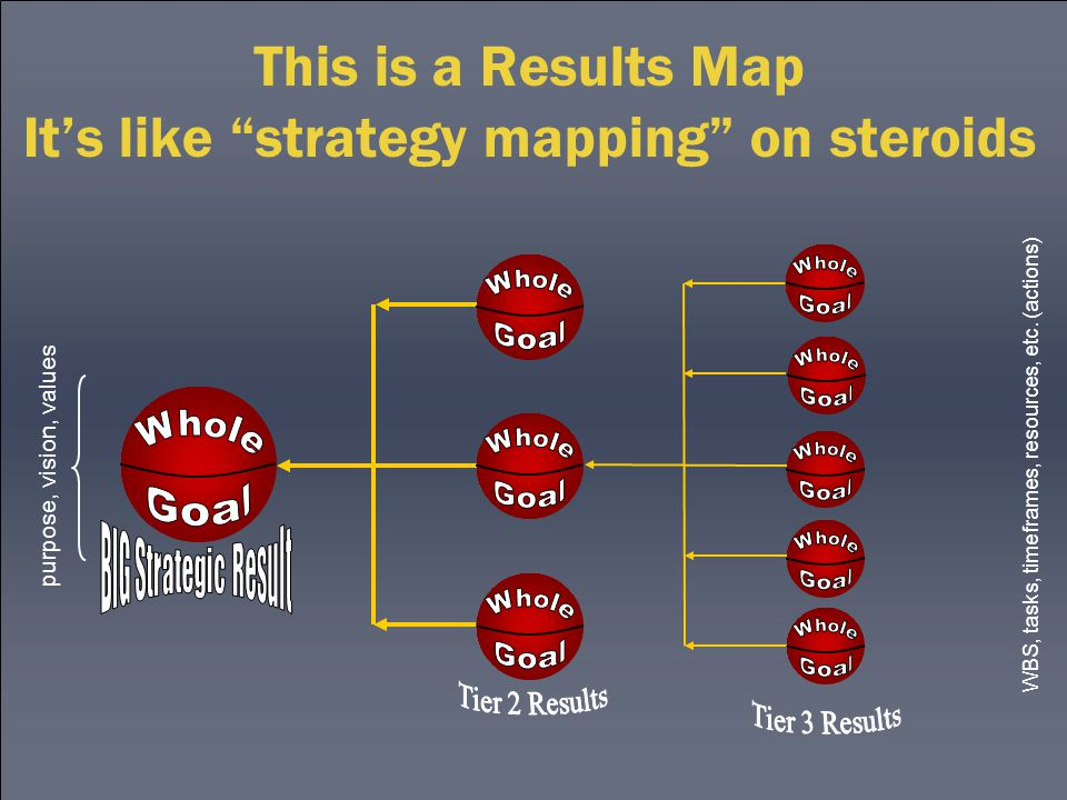 This is a Results Map It's like strategy mapping on steroids purpose, vision, values WBS, tasks, timeframes, resources, etc.