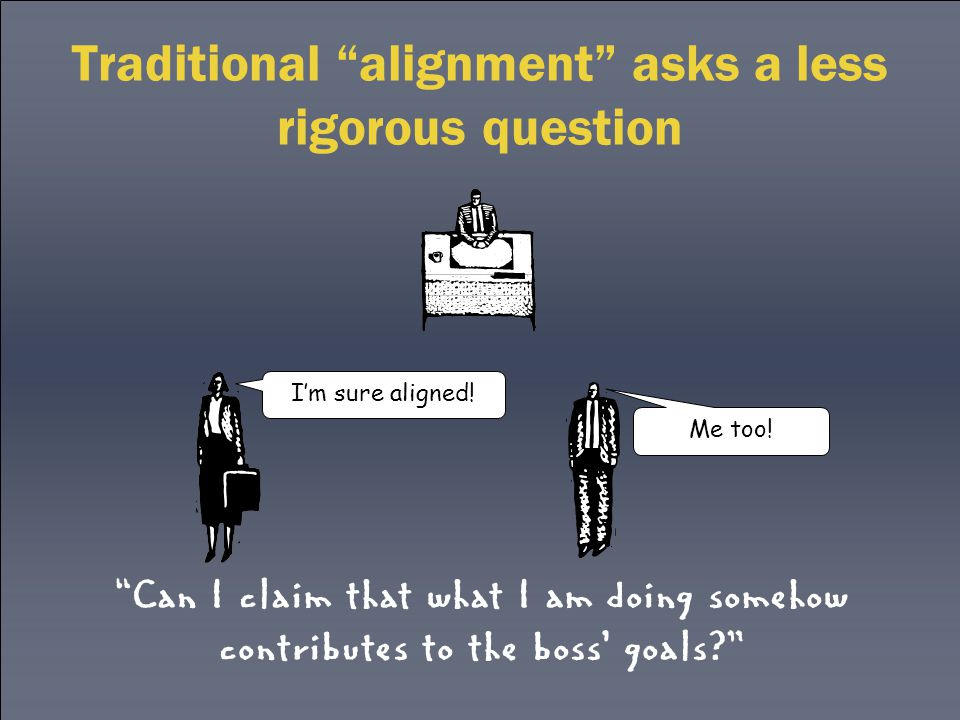 Traditional alignment asks a less rigorous question Can I claim that what I am doing somehow contributes to the boss' goals? I'm sure aligned.