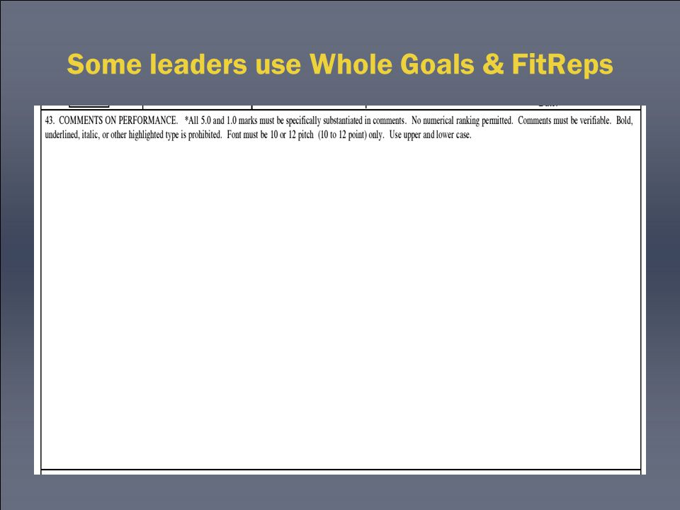 Some leaders use Whole Goals & FitReps