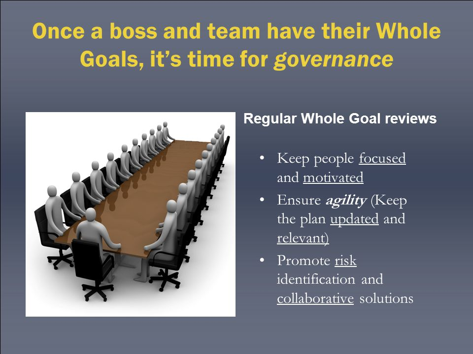 Once a boss and team have their Whole Goals, it's time for governance Keep people focused and motivated Ensure agility (Keep the plan updated and relevant) Promote risk identification and collaborative solutions Regular Whole Goal reviews
