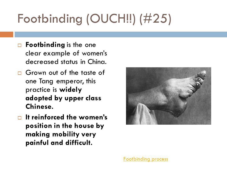 Women's Deteriorating Status (#24)  With the rise of neo-Confucianism, women's rights steadily declined.  The woman's role as a homemaker and mother