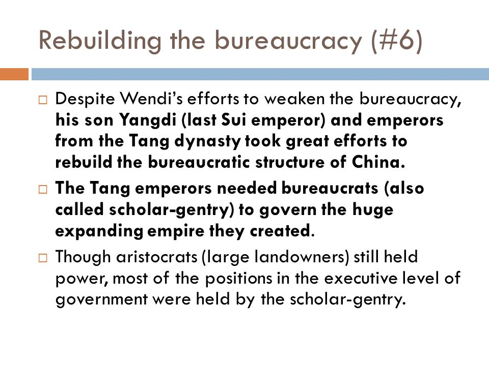 The Tang Dynasty (#4)  Yangdi's disastrous decisions were averted by one of his ablest generals, Li Yuan, the Duke of Tang. He helped lay the foundat