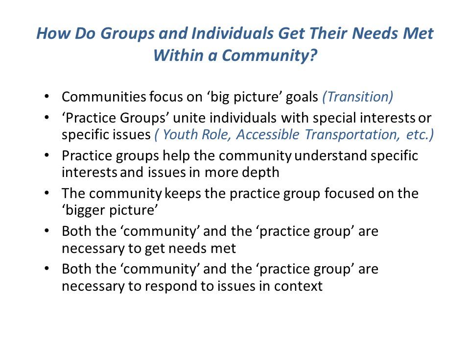 How Do Groups and Individuals Get Their Needs Met Within a Community.