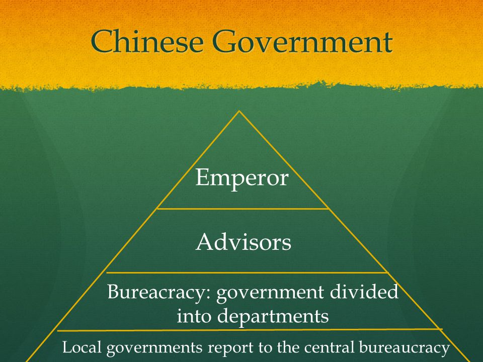 Chinese Government Emperor Advisors Bureacracy: government divided into departments Local governments report to the central bureaucracy