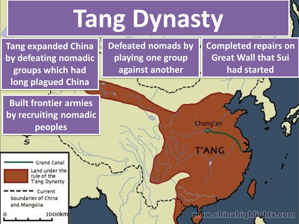 Tang Dynasty Completed repairs on Great Wall that Sui had started Built frontier armies by recruiting nomadic peoples Tang expanded China by defeating
