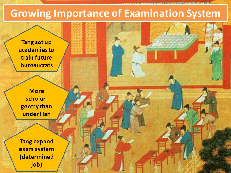 Growing Importance of Examination System Tang set up academies to train future bureaucrats More scholar- gentry than under Han Tang expand exam system