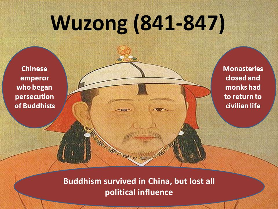 Wuzong (841-847) Chinese emperor who began persecution of Buddhists Monasteries closed and monks had to return to civilian life Buddhism survived in C