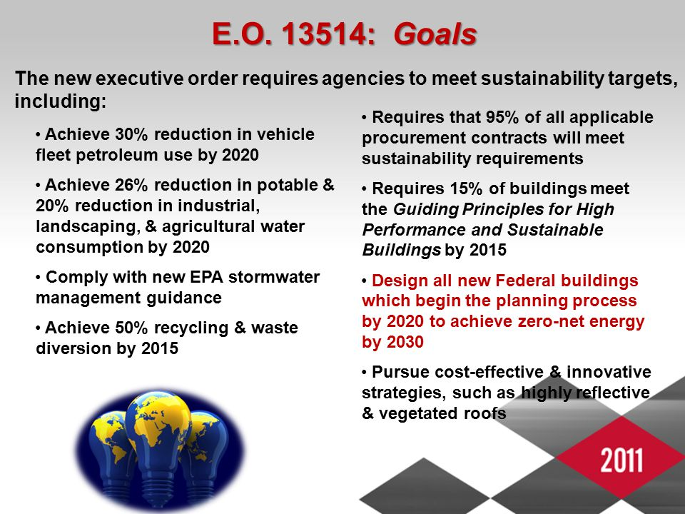 E.O. 13514: Goals Requires that 95% of all applicable procurement contracts will meet sustainability requirements Requires 15% of buildings meet the G
