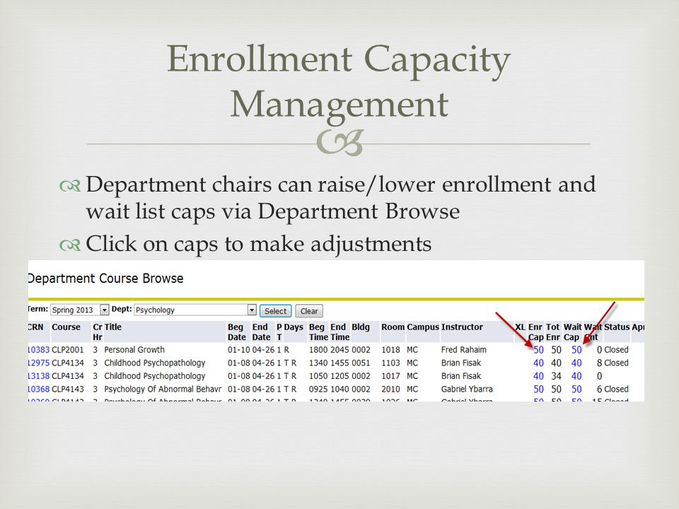   Department chairs can raise/lower enrollment and wait list caps via Department Browse  Click on caps to make adjustments Enrollment Capacity Mana