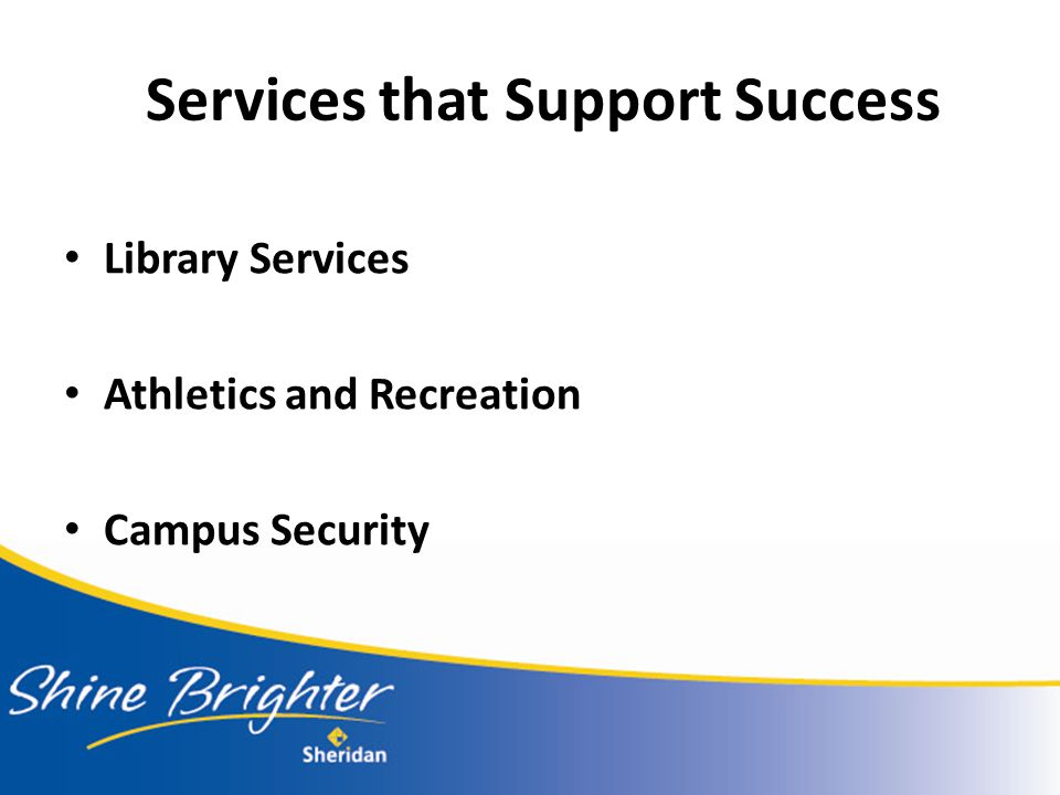 Services that Support Success Library Services Athletics and Recreation Campus Security