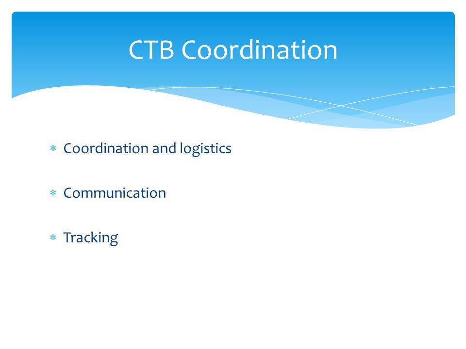  Coordination and logistics  Communication  Tracking CTB Coordination