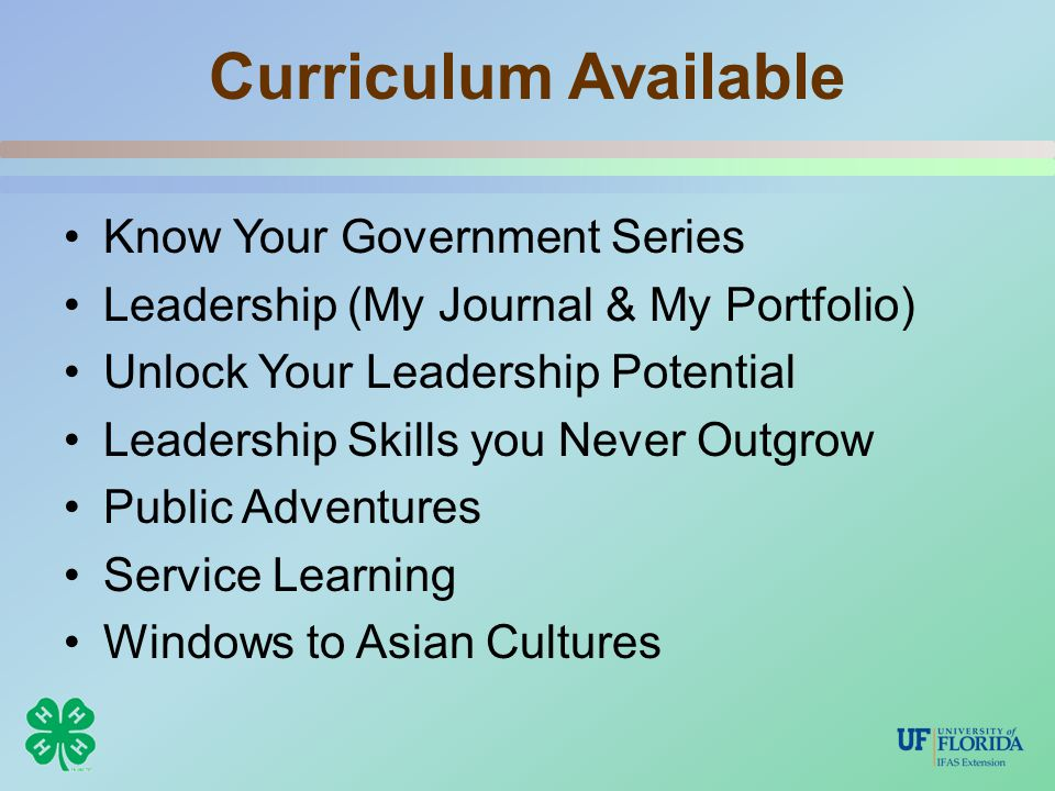 Curriculum Available Know Your Government Series Leadership (My Journal & My Portfolio) Unlock Your Leadership Potential Leadership Skills you Never Outgrow Public Adventures Service Learning Windows to Asian Cultures