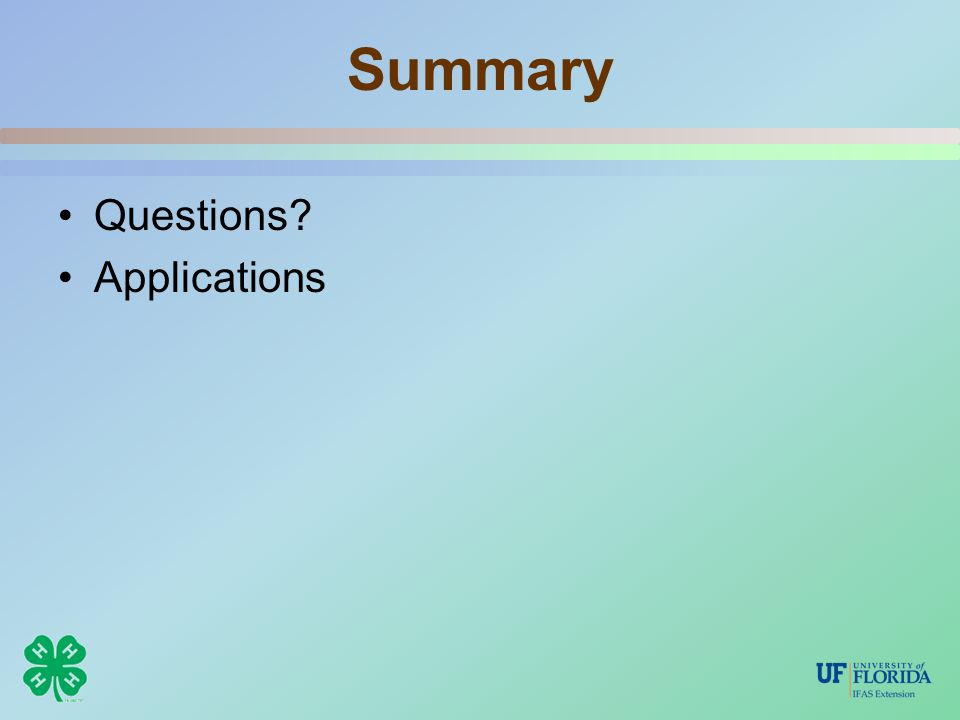 Summary Questions Applications