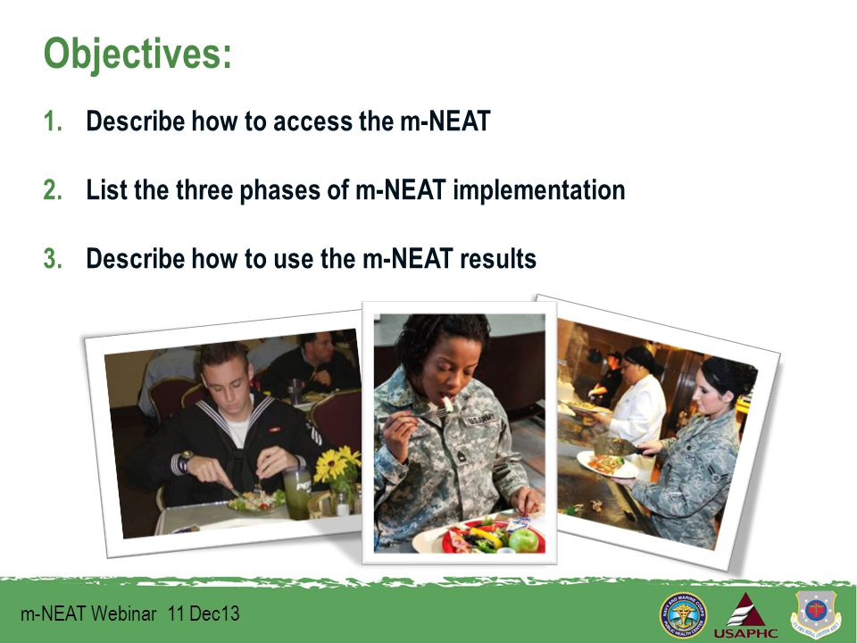 Objectives: 1.Describe how to access the m-NEAT 2.List the three phases of m-NEAT implementation 3.Describe how to use the m-NEAT results m-NEAT Webinar 11 Dec13 1