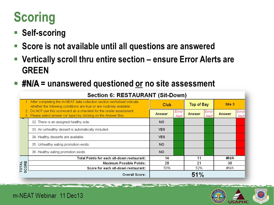 Scoring  Self-scoring  Score is not available until all questions are answered  Vertically scroll thru entire section – ensure Error Alerts are GREEN  #N/A  #N/A = unanswered questioned or no site assessment 22 Club Top of Bay m-NEAT Webinar 11 Dec13