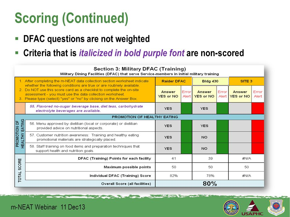Scoring (Continued)  DFAC questions are not weighted  Criteria that is italicized in bold purple font are non-scored 24 m-NEAT Webinar 11 Dec13