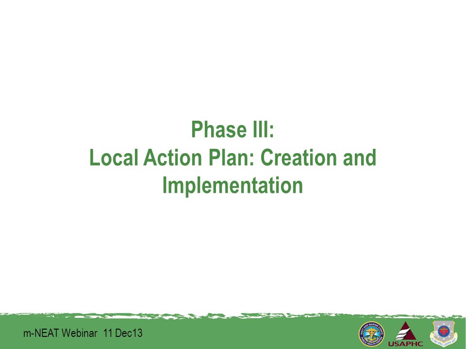 Phase III: Local Action Plan: Creation and Implementation 26 m-NEAT Webinar 11 Dec13