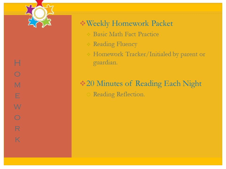  Weekly Homework Packet  Basic Math Fact Practice  Reading Fluency  Homework Tracker/Initialed by parent or guardian.