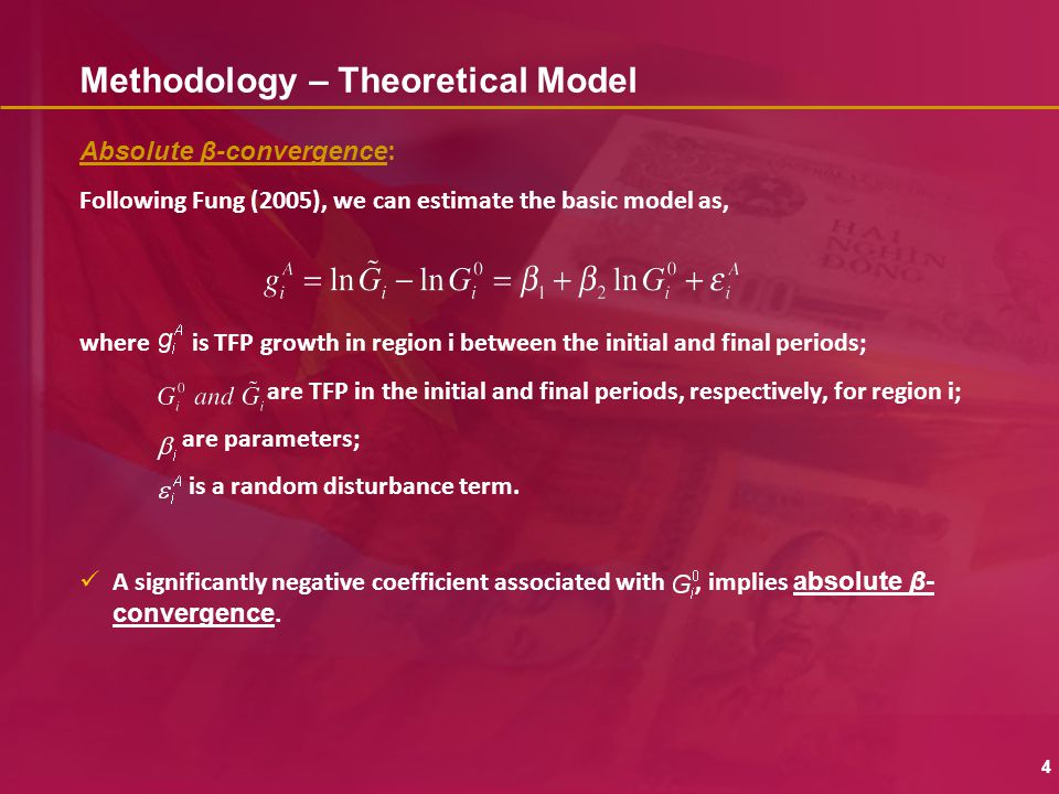 Methodology – Theoretical Model Absolute β-convergence : Following Fung (2005), we can estimate the basic model as, where is TFP growth in region i be
