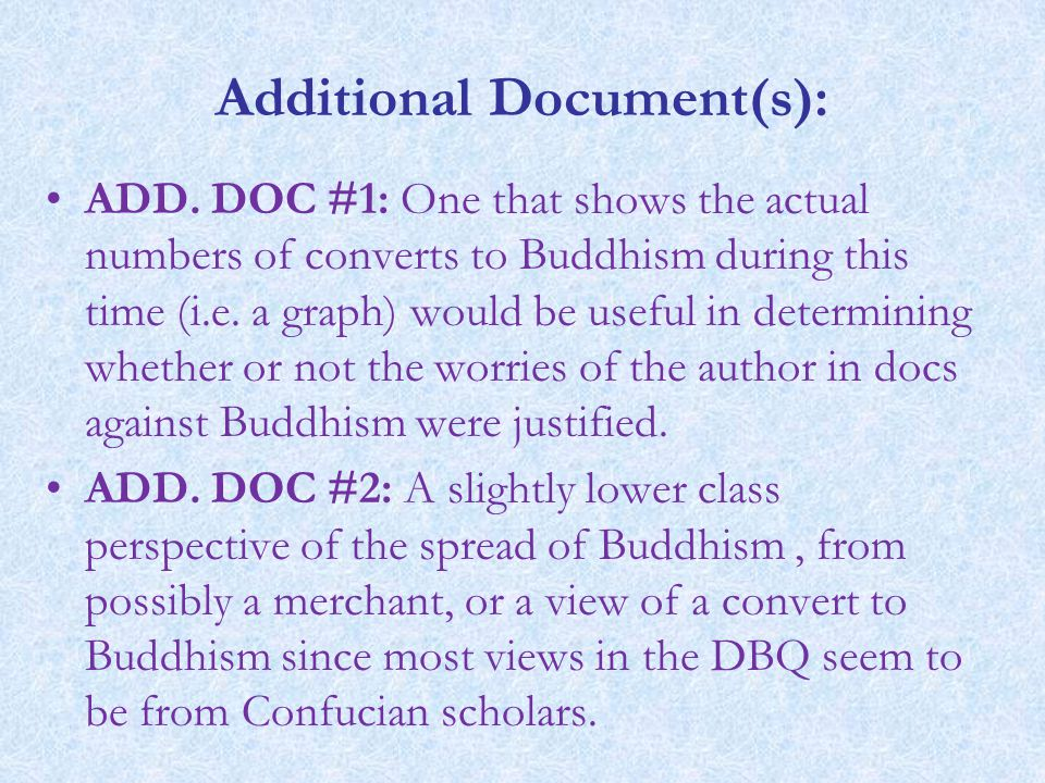 Additional Document(s): ADD. DOC #1: One that shows the actual numbers of converts to Buddhism during this time (i.e. a graph) would be useful in dete