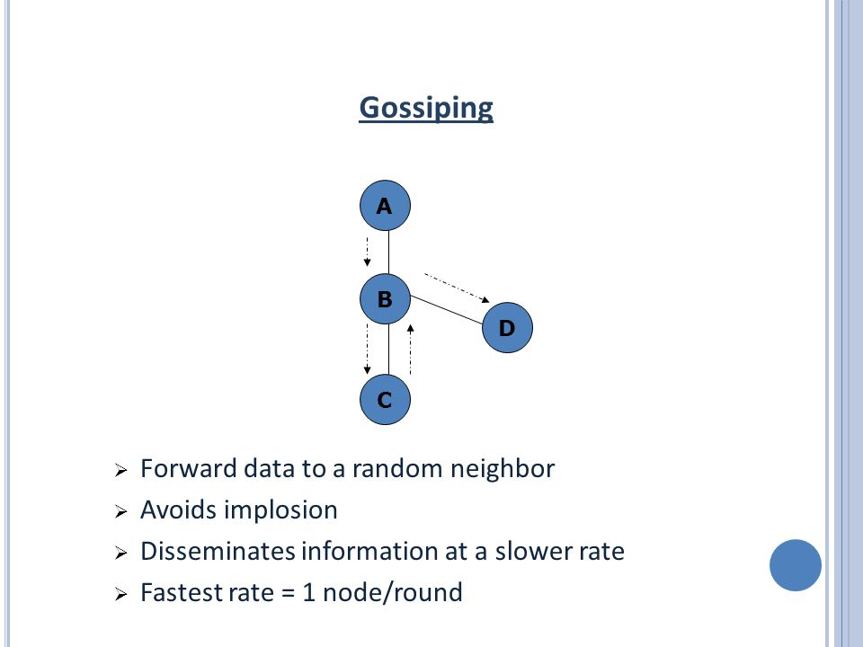 Gossiping A C B D  Forward data to a random neighbor  Avoids implosion  Disseminates information at a slower rate  Fastest rate = 1 node/round
