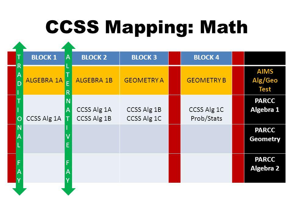 CCSS Mapping: Math BLOCK 1BLOCK 2BLOCK 3BLOCK 4 ALGEBRA 1AALGEBRA 1BGEOMETRY AGEOMETRY B AIMS Alg/Geo Test CCSS Alg 1A CCSS Alg 1A CCSS Alg 1B CCSS Alg 1B CCSS Alg 1C CCSS Alg 1C Prob/Stats PARCC Algebra 1 PARCC Geometry PARCC Algebra 2 ALTERNATIVE FAYALTERNATIVE FAY TRADITIONAL FAYTRADITIONAL FAY