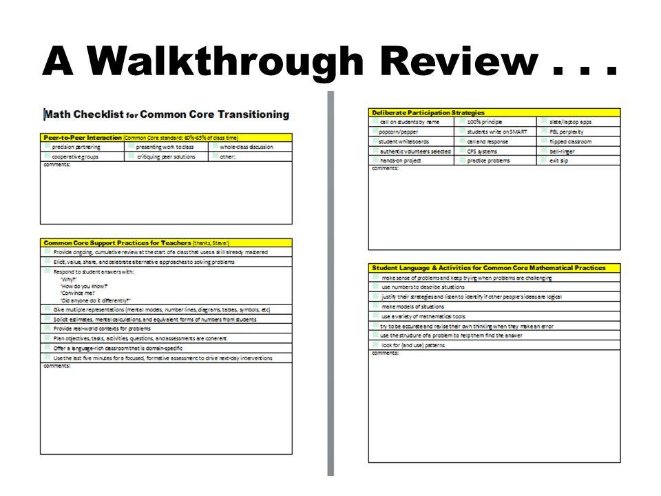 A Walkthrough Review...
