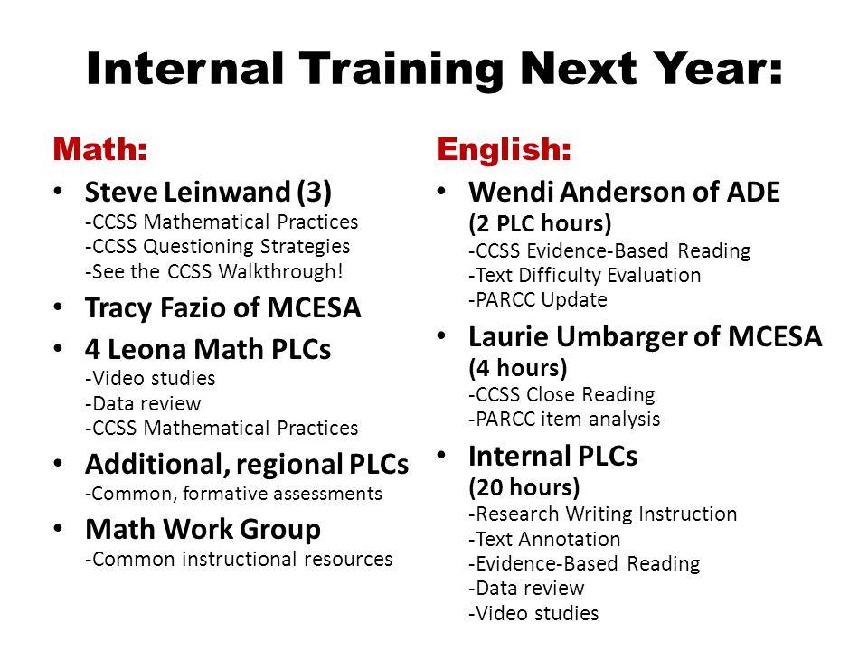 Internal Training Next Year: Math: Steve Leinwand (3) -CCSS Mathematical Practices -CCSS Questioning Strategies -See the CCSS Walkthrough.