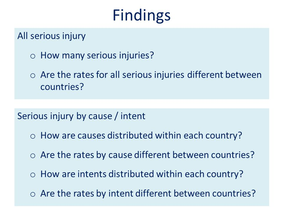 Findings All serious injury o How many serious injuries.