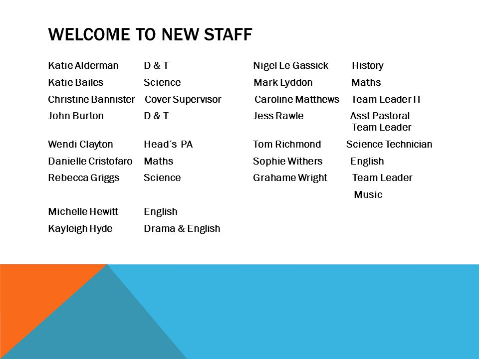 WELCOME TO NEW STAFF Katie Alderman D & T Nigel Le Gassick History Katie BailesScience Mark Lyddon Maths Christine Bannister Cover Supervisor Caroline Matthews Team Leader IT John BurtonD & T Jess Rawle Asst Pastoral Team Leader Wendi ClaytonHead's PA Tom Richmond Science Technician Danielle CristofaroMaths Sophie Withers English Rebecca GriggsScience Grahame Wright Team Leader Music Michelle HewittEnglish Kayleigh HydeDrama & English