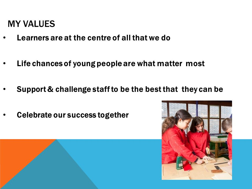 MY VALUES Learners are at the centre of all that we do Life chances of young people are what matter most Support & challenge staff to be the best that they can be Celebrate our success together