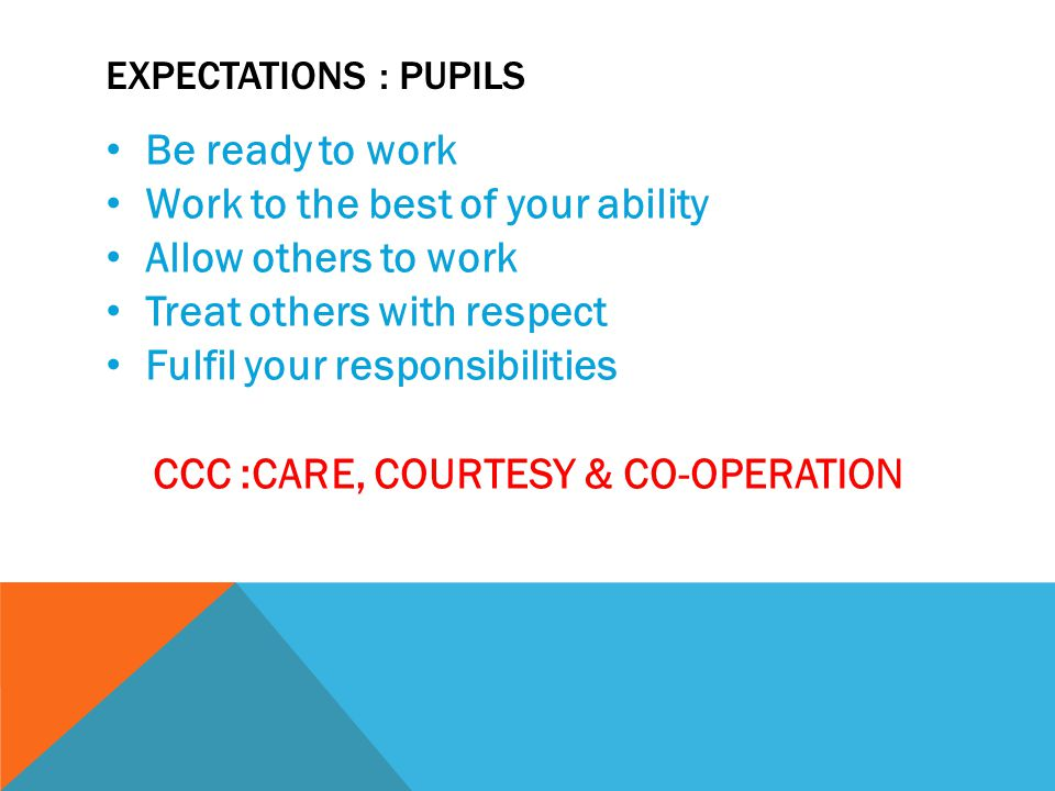EXPECTATIONS : PUPILS Be ready to work Work to the best of your ability Allow others to work Treat others with respect Fulfil your responsibilities CCC :CARE, COURTESY & CO-OPERATION