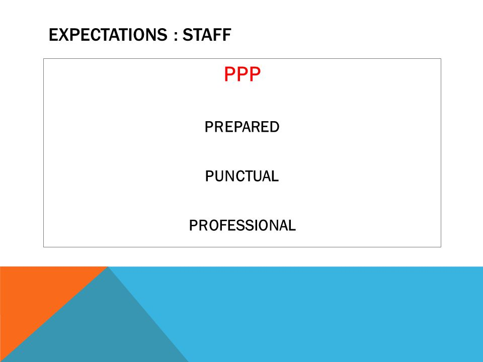 EXPECTATIONS : STAFF PPP PREPARED PUNCTUAL PROFESSIONAL