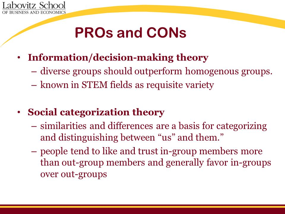 PROs and CONs Information/decision-making theory – diverse groups should outperform homogenous groups.