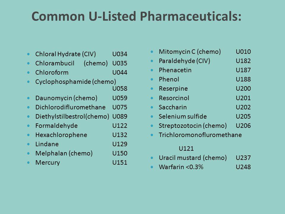 Common U-Listed Pharmaceuticals: Chloral Hydrate (CIV) U034 Chlorambucil(chemo) U035 Chloroform U044 Cyclophosphamide (chemo) U058 Daunomycin (chemo)U