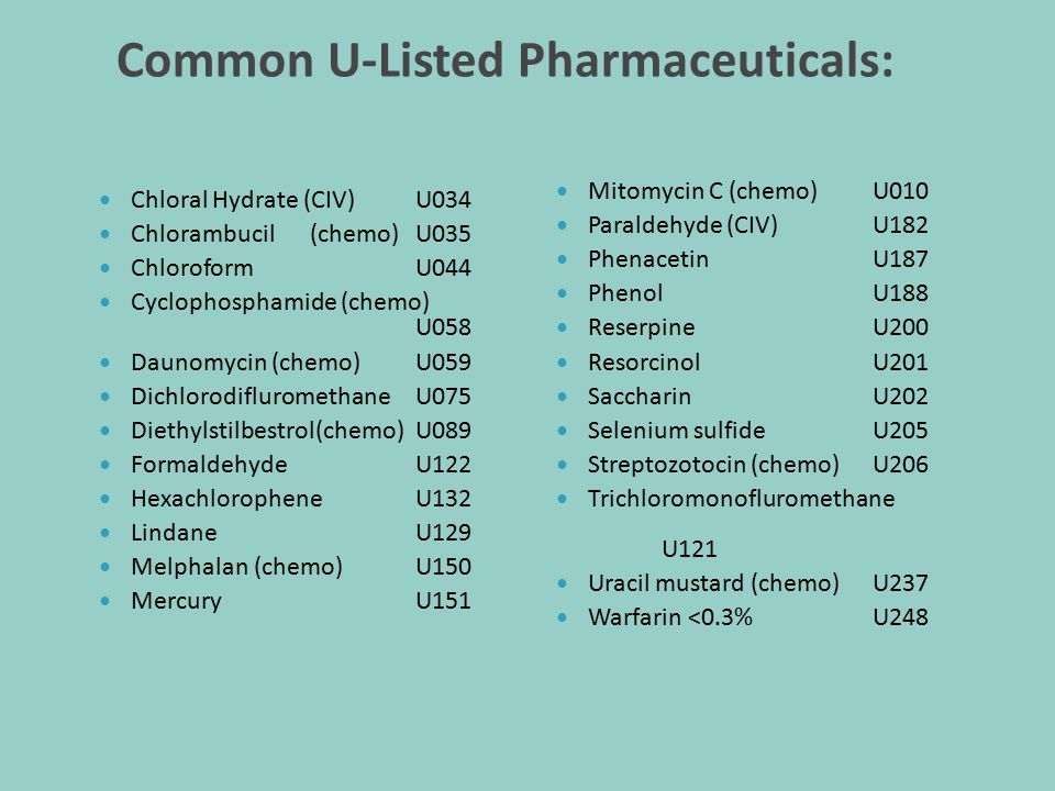 Common U-Listed Pharmaceuticals: Chloral Hydrate (CIV) U034 Chlorambucil(chemo) U035 Chloroform U044 Cyclophosphamide (chemo) U058 Daunomycin (chemo)U059 DichlorodifluromethaneU075 Diethylstilbestrol(chemo)U089 Formaldehyde U122 Hexachlorophene U132 Lindane U129 Melphalan (chemo)U150 Mercury U151 Mitomycin C (chemo)U010 Paraldehyde (CIV)U182 Phenacetin U187 Phenol U188 Reserpine U200 Resorcinol U201 Saccharin U202 Selenium sulfide U205 Streptozotocin (chemo)U206 Trichloromonofluromethane U121 Uracil mustard (chemo)U237 Warfarin <0.3%U248
