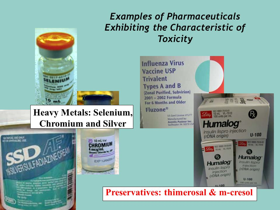 Preservatives: thimerosal & m-cresol Heavy Metals: Selenium, Chromium and Silver Examples of Pharmaceuticals Exhibiting the Characteristic of Toxicity